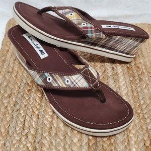 American Eagle Wedge Plaid Sandals Women's 9.5